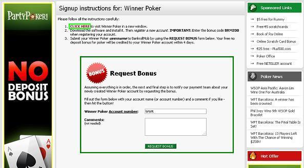 poker no deposit bonus